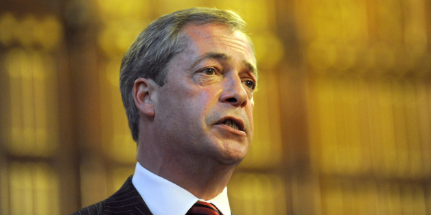 UKIP Leader Nigel Farage speaks to delegates at an event at Manchester Town Hall during the Conservative Conference 2013.