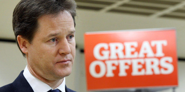 Deputy Prime Minister Nick Clegg visits a Sainsbury's supermarket in Notting Hill, London, as he urged George Osborne to introduce the £10,000 personal allowance on income tax more quickly than planned to relieve the growing pressure on household budgets.