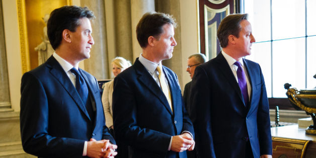 (Left to right) Labour Leader Ed Miliband, Deputy Prime Minister Nick Clegg and Prime Minister David Cameron during the Step Up to Serve launch at Buckingham Palace, central London.