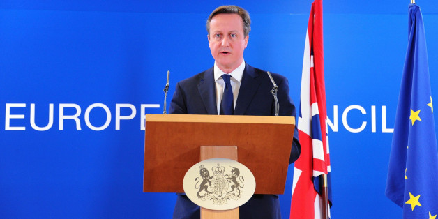 BRUSSELS, BELGIUM - MARCH 6: Prime Minister of the United Kingdom David Cameron gives a speech after an emergency summit about the situation in Ukraine at the European Union Council Building in Brussels, Belgium, on March 6, 2014.  (Photo by Dursun Aydemir/Anadolu Agency/Getty Images)