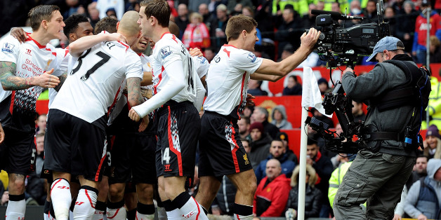 MANCHESTER, ENGLAND - MARCH 16:  (THE SUN OUT, THE SUN ON SUNDAY OUT) Steven Gerrard of Liverpool celebrates after scoring from the spot for the second time during the Barclays Premier Leauge match between Manchester United and Liverpool at Old Trafford on March 16, 2014 in Manchester, England.  (Photo by John Powell/Liverpool FC via Getty Images)