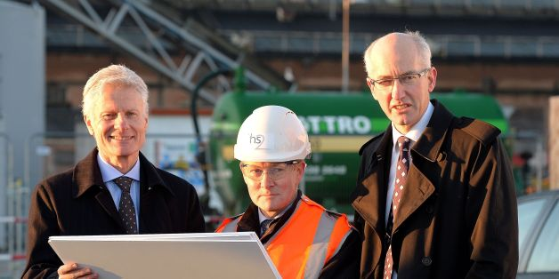 (Left to right) Lord Deighton from the Treasury, John Castle the senior area engineer for London and Sir David Higgins the chief executive of Network Rail, view what will be the site for a new HS2 and Crossrail station, at the Old Common Oak lane site in north west London.