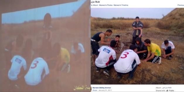 A gauche, capture d'écran d'une photo présentée par le ministère de l'Intérieur, à droite, capture d'écran d'une photo partagée sur Facebook, datée de janvier 2011