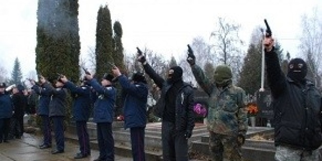 Right Sector, often dubbed neo-Nazis, came to pay their respects at the funeral of a Jewish activist