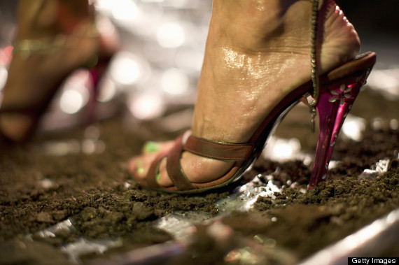 high heels mud