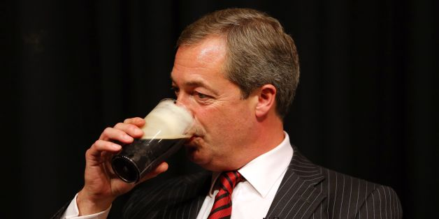 UK Independence Party Leader Nigel Farage during 'A beer and a fag with Farage' event at the Comedy Store in Manchester, on the second day of the Conservative Party Conference in Manchester.