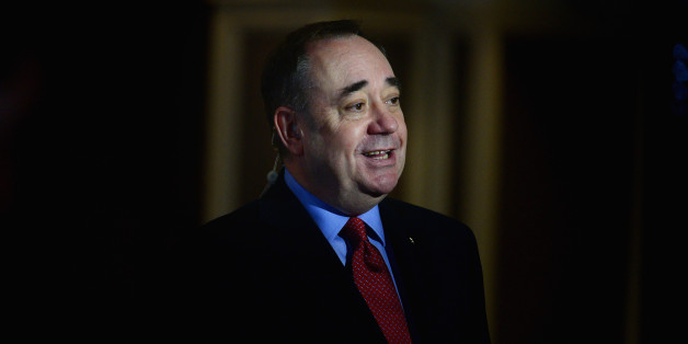 ABERDEEN, SCOTLAND - FEBRUARY 17:  Alex Salmond, Scotlands First Minister, gives a interview following an addressing a Business for Scotland event on February 17, 2014 in Aberdeen, Scotland. Scotlands first minister mounted his defence for independence following a weekend of pressure on whether Scotland could keep sterling as its AA currency or expect a smooth entry into the EU.  (Photo by Jeff J Mitchell/Getty Images)