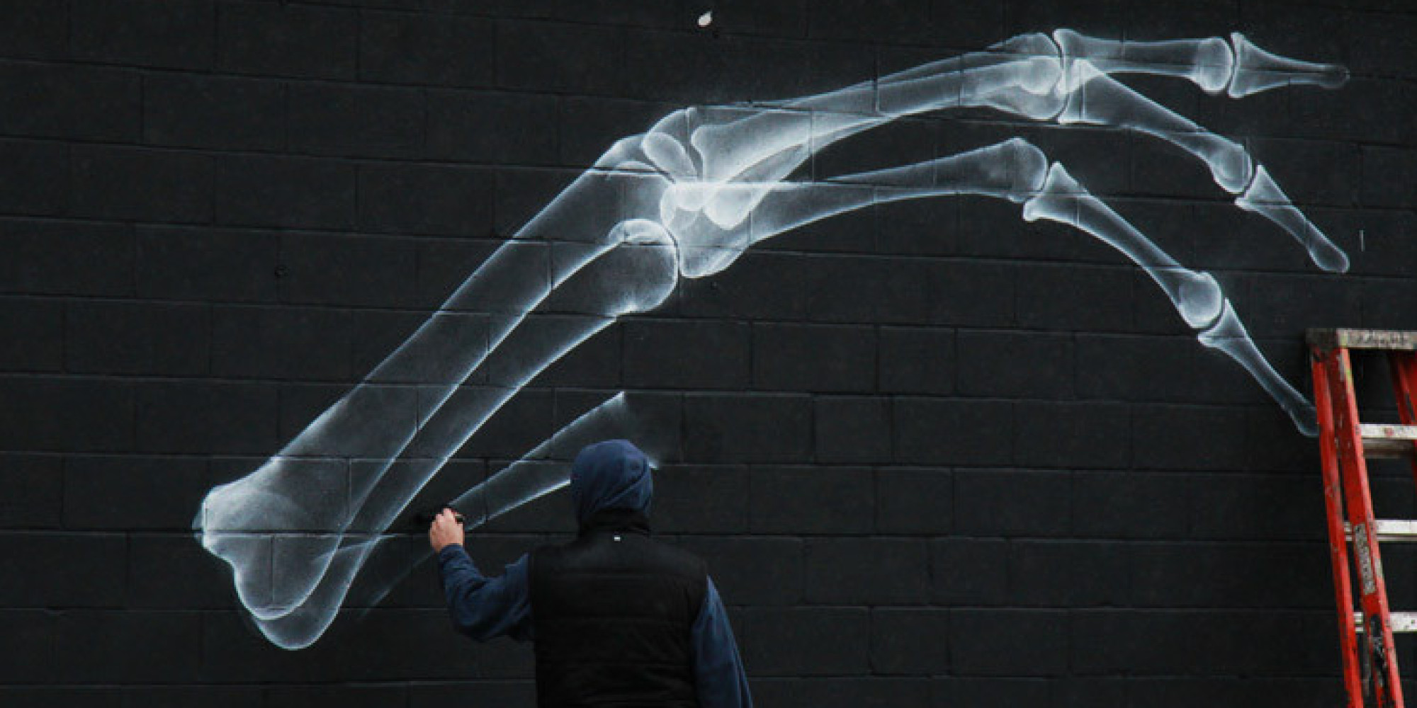 Shok 1 street art x rays reveal a unique hand at the can for X ray painting