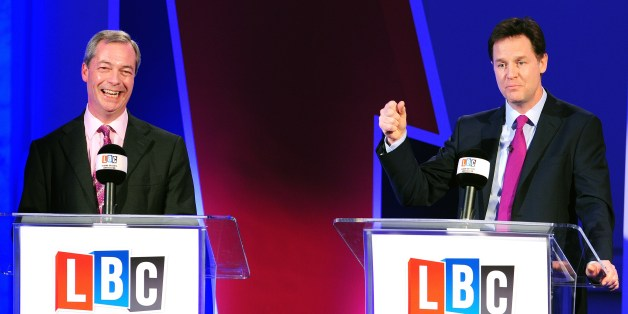 British Deputy Prime Minister Nick Clegg (R) and UK Independence Party (UKIP) leader Nigel Farage (L) take part in a debate over Britain's future in the European Union in London on March 26, 2014. Clegg locked horns with the leader of the country's most anti-EU party in the first of two face-to-face debates ahead of forthcoming European Parliament elections. Clegg, leader of the Europhile Liberal Democrats, argued that Britain was 'better off in Europe - richer, stronger, safer', but UK Independence Party (UKIP) head Nigel Farage countered that the European Union was no longer fit to face the challenges of the modern economy. AFP PHOTO/POOL/IAN WEST        (Photo credit should read IAN WEST/AFP/Getty Images)