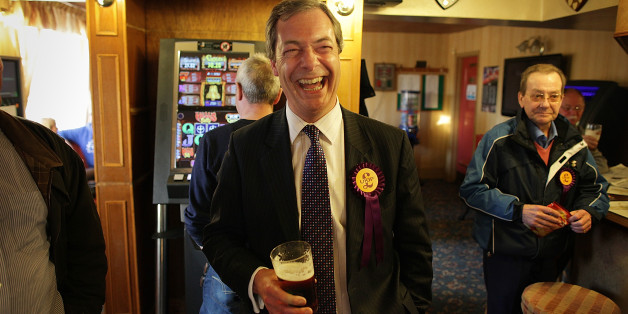 WINSLOW, ENGLAND - APRIL 08:  United Kingdom Independence Party (UKIP) member Nigel Farage shares a joke in the pub with party workers after campaigning on April 8, 2010 in Winslow, England. UKIP Member of the European Parliament, Nigel Farage, is standing in the constituency of Parliament's speaker John Bercow in the general election which is  to be held on May 6, 2010. Electoral convention dictates that main political parties do not put up candidates in the current Speaker?s constituency.  (Ph