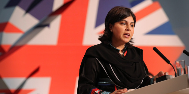 BIRMINGHAM, ENGLAND - OCTOBER 03:  Conservative Co-Chairman Sayeeda Warsi speaks to delegates at the Conservative Party Conference at the International Convention Centre on October 3, 2010 in Birmingham, England. Party members, MPs and Conservative cabinet Ministers are attending the Conservative Party's first annual conference since the formation of the new coalition government.  (Photo by Peter Macdiarmid/Getty Images)