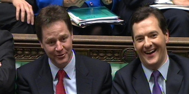 Deputy Prime Minister Nick Clegg (left) and Chancellor George Osborne listen to Labour Leader Ed Miliband's response to the Chancellor's Budget in the House of Commons, London.