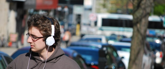 listening music headphones