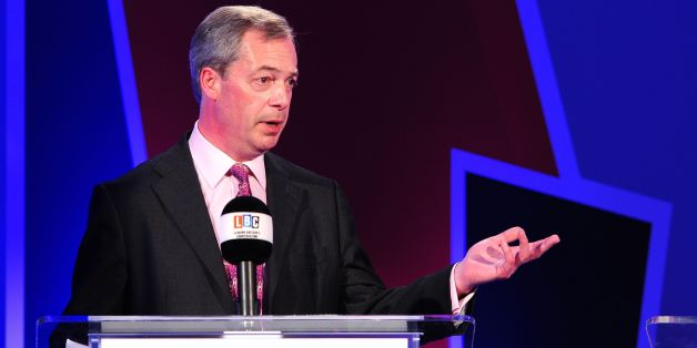 Ukip leader Nigel Farage takes part in a debate over Britain's future in the European Union, hosted by LBC's Nick Ferrari, held at 8 Northumberland Avenue, London.