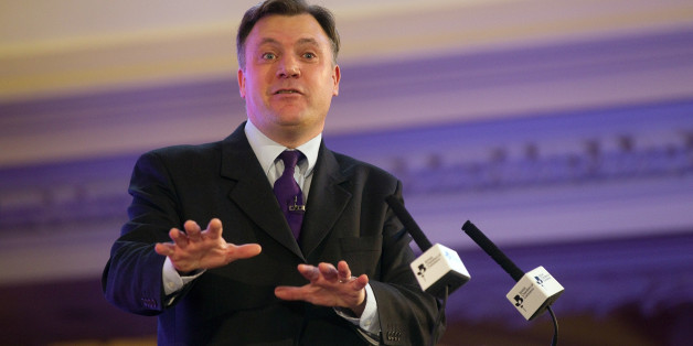 Ed Balls, the opposition Labour Party's treasury affairs spokesman, speaks during the British Chambers Of Commerce Annual Conference (BCC) at the Central Hall in London, U.K., on Thursday, March 15, 2012. Fitch Ratings said Britain risks losing its top investment grade because of its limited ability to deal with shocks, days before Chancellor of the Exchequer George Osborne will present his annual budget. Photographer: Simon Dawson/Bloomberg via Getty Images