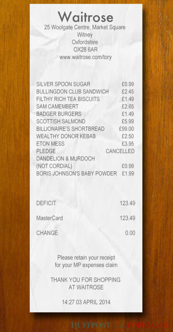 we found david cameron s waitrose receipt picture
