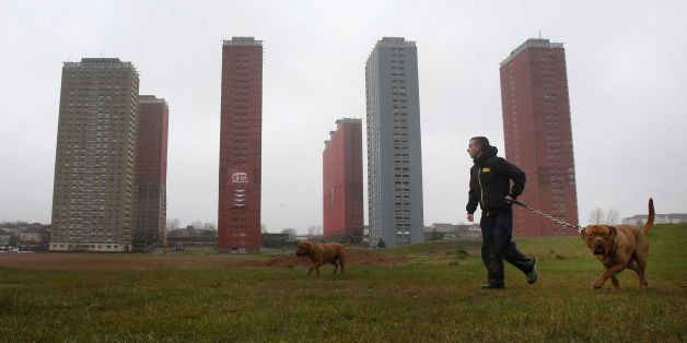 A man walks his dog by the Red Road flats in Glasgow that will be demolished live during the opening ceremony of the Commonwealth Games.