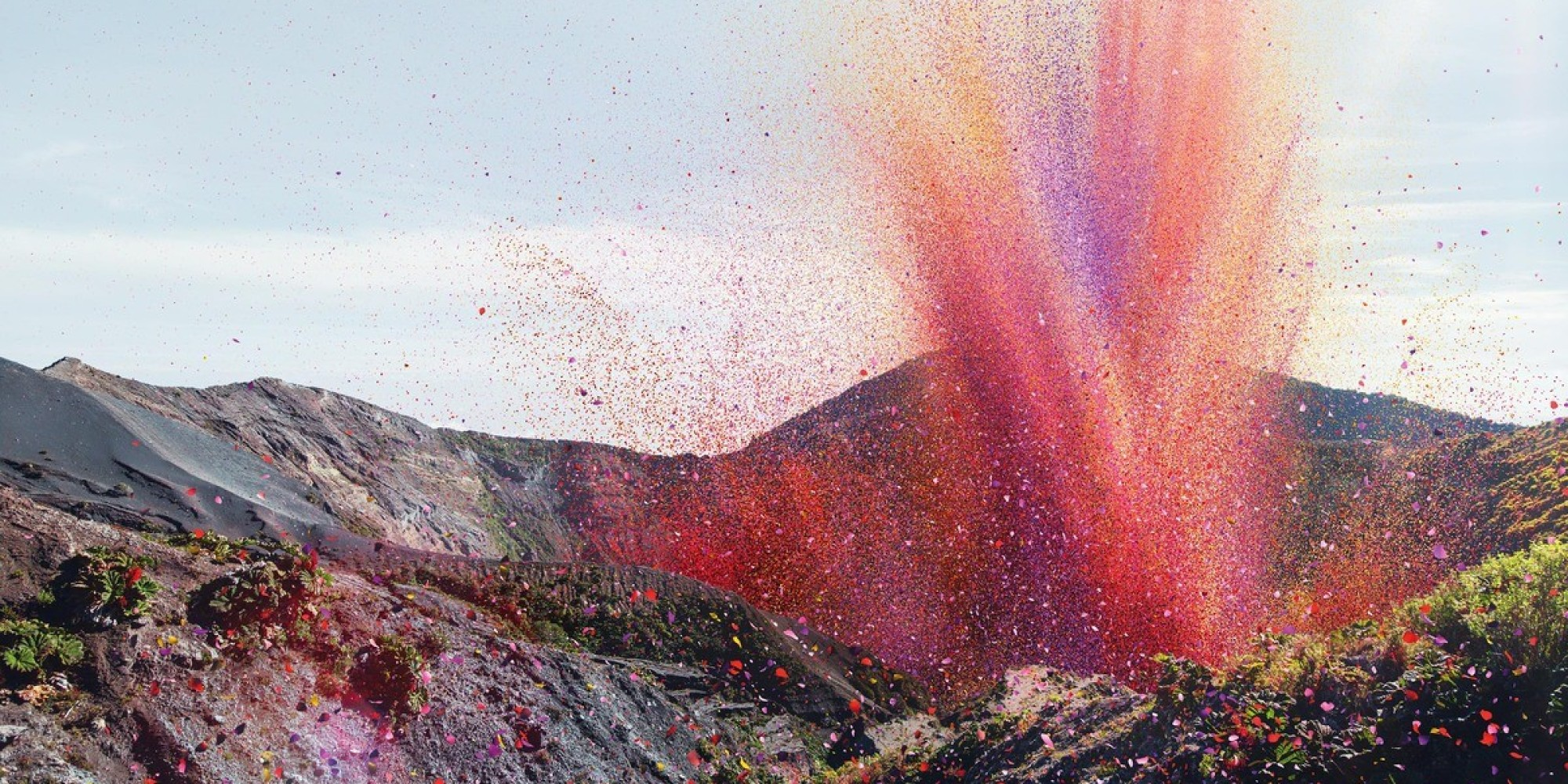 Flower Petals Explode Like A Volcano Over Town In Costa Rica PHOTOS