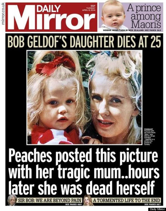 peaches geldof death daily mirror