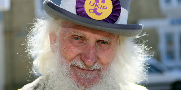 UKIP supporter Roger Henson on the local campaign trail in Ramsey Cambridgeshire.