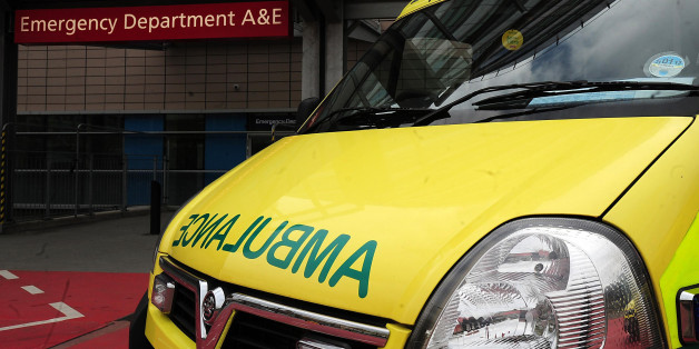 """File photo dated 04/04/11 of an ambulance outside the entrance to a hospital Accident and Emergency department.More than a quarter of a million patients waited for half an hour or longer in ambulances outside hospitals in the last 12 months because of the """"crisis"""" in accident and emergency departments, according to figures obtained by Labour."""