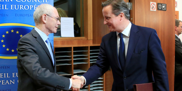 BRUSSELS, BELGIUM - MARCH 6: European Council President Herman Van Rompuy (L) shakes the hand of Prime Minister of the United Kingdom David Cameron (R) before an emergency summit about the situation in Ukraine at the European Union Council Building in Brussels, Belgium, on March 6, 2014. (Photo by Dursun Aydemir/Anadolu Agency/Getty Images)