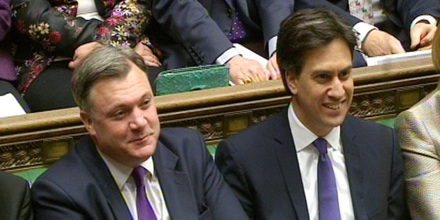 Shadow Chancellor Ed Balls (left) and Labour party leader Ed Miliband during Prime Minister's Questions in the House of Commons, London.