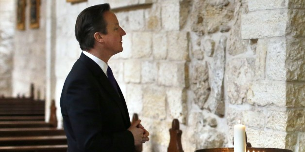 British Prime Minister David Cameron visits the Church of the Nativity in the West Bank town of Bethlehem, on March 13, 2014. AFP PHOTO / POOL/ THOMAS COEX        (Photo credit should read THOMAS COEX/AFP/Getty Images)