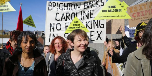 Green Party MP Caroline Lucas arrives at Brighton Magistrates' Court where she faces two charges of wilful obstruction of the highway and breaching section 14 of the Public Order Act following her arrest at the height of the anti-fracking protests outside energy firm Cuadrilla's exploratory oil drilling site on the outskirts of Balcombe on August 19 last year.