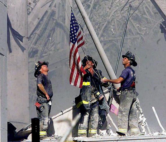 ground zero firefighters flag