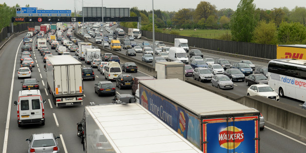 Motorists queue in heavy traffic on the M25 between junction 12 and 13 as the Easter getaway starts.