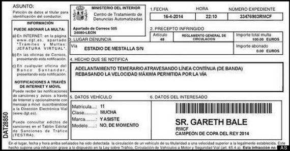 gareth bale speeding ticket