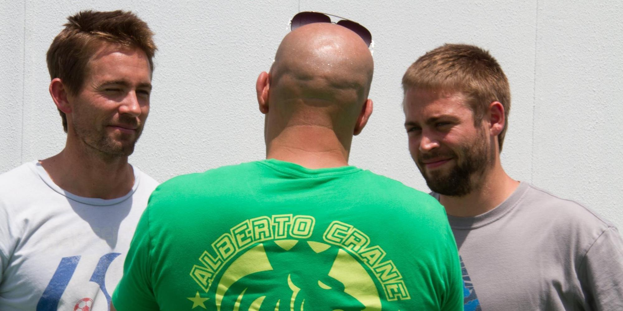 First photo paul walker s brothers on set of fast furious 7 pic huffpost uk