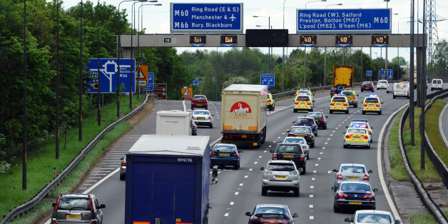 A dog has caused chaos on the M60 motorway near Manchester in north west England (file photo)