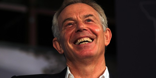 Former Prime Minister Tony Blair is interviewed by political journalist John Rentoul to mark the one-hundredth Mile End group at Queen Mary University of London.