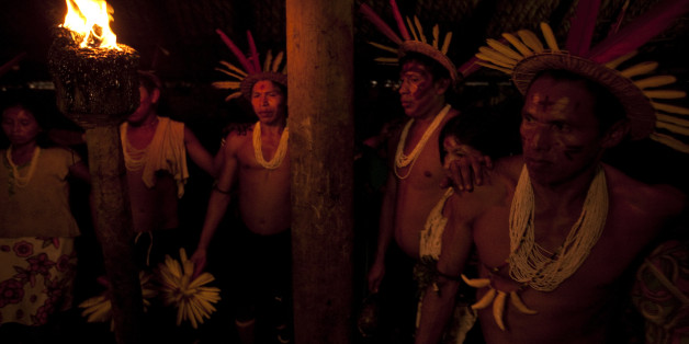 Barasana men transformed through ritual and the ingestion of yage into the ancestors dance for three days and nights in honor of Cassava woman, Rio Piraparana, Vaupes Department, Colombia, 2009. (Photo by Wade Davis/Getty Images)