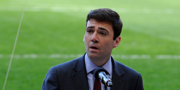 LIVERPOOL, ENGLAND - APRIL 15:  (THE SUN OUT, THE SUN ON SUNDAY OUT) (NO SALES) In this handout image provided by Liverpool FC, Andy Burnham MP during the 25th Hillsborough Anniversary Memorial Service at Anfield on April 15, 2014 in Liverpool, England.  (Photo by Liverpool FC - Handout/Liverpool FC via Getty Images)