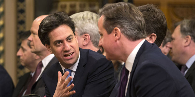 File photo dated 27/02/14 of Labour leader Ed Miliband (left) speaking with Prime Minister David Cameron. Ed Miliband has upped the pressure on David Cameron to agree to a new round of televised general election leadership debates as he signalled his willingness to see changes to the format.