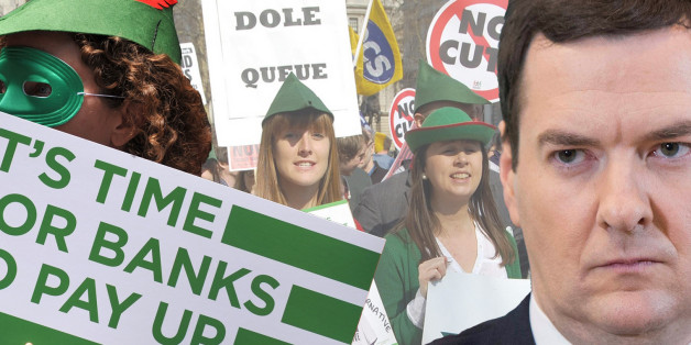 "On budget day 2012 Robin Hood Tax supporters joined others in a winding dole queue outside Downing Street to let George Osborne know that there are alternatives to the austerity cuts. ""Tax the banks and not the poor""Find out more>><a href=""http://robinhoodtax.org/"" rel=""nofollow"">robinhoodtax.org/</a>"