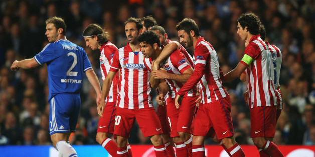 LONDON, ENGLAND - APRIL 30:  Diego Costa of Club Atletico de Madrid celebrates his goal with team mates during the UEFA Champions League semi-final second leg match between Chelsea and Club Atletico de Madrid at Stamford Bridge on April 30, 2014 in London, England.  (Photo by Clive Rose/Getty Images)