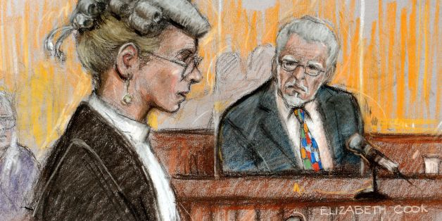 "Court artist sketch by Elizabeth Cook of Rolf Harris who appearing at Southwark Crown Court, London where the veteran entertainer escaped punishment for a string of alleged indecent assaults for years because he was ""too famous"", a jury has heard."
