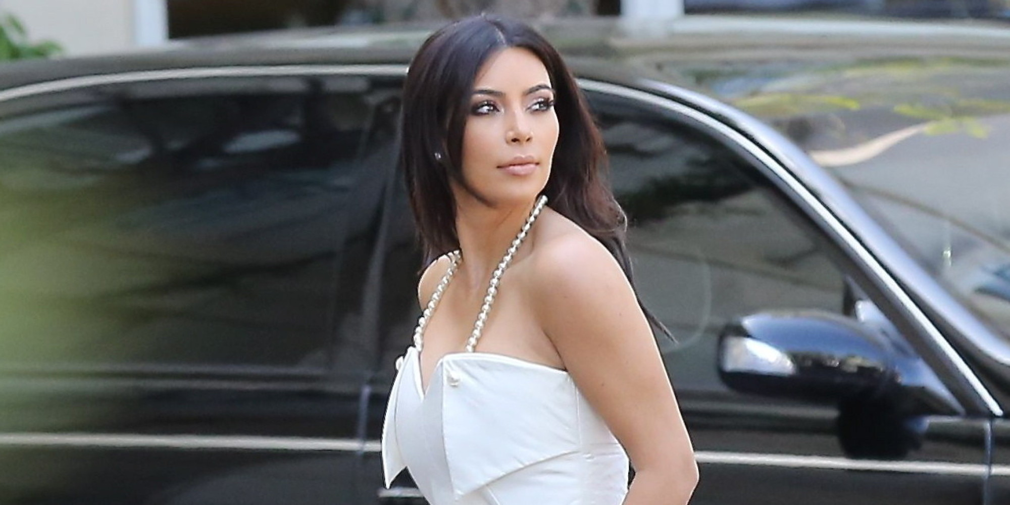 Kim kardashian wears all white to her bridal shower in beverly kim kardashian wears all white to her bridal shower in beverly hills huffpost ombrellifo Image collections