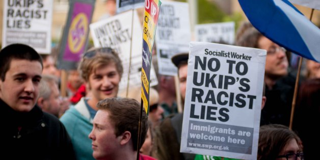 Demonstrators from various organisations travelled from all over the country to protest against UKIP leader, Nigel Farage at the UKIP rally for the European elections, held in Edinburghs' Corn Exchange venue. Friday, 9th May 2014.
