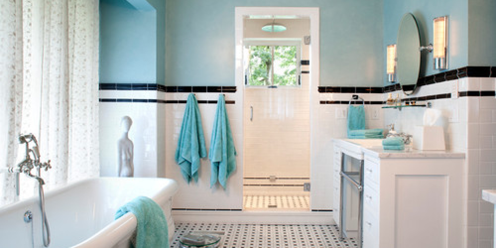 black and white and teal bathroom ideas