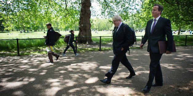 File photo dated 24/8/2012 of Boris Johnson (left) with Prime Minister David Cameron who has made a plea for the Mayor of London to return to Parliament and run in the next election.