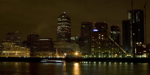A general view of Canary Wharf business district, London, during Earth Hour.