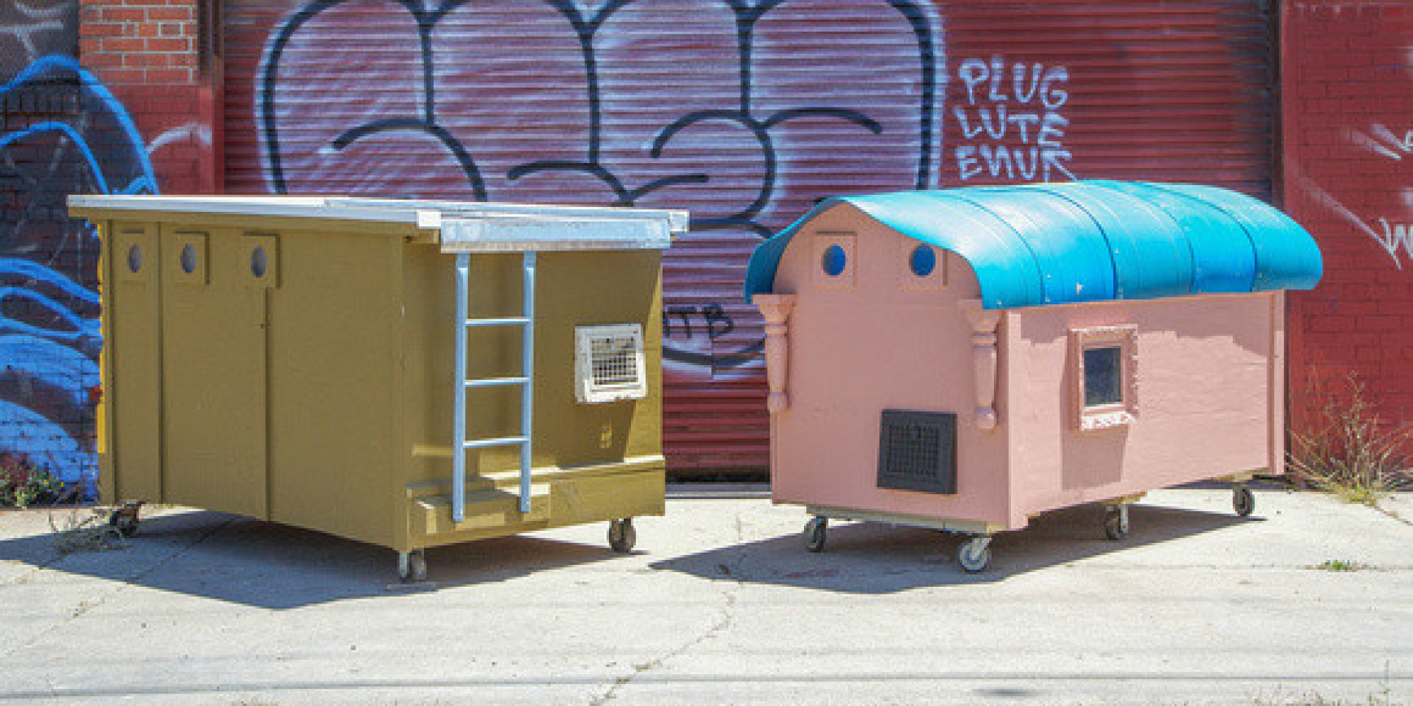 artist converts trash into compact mobile homes for the homeless huffpost. Black Bedroom Furniture Sets. Home Design Ideas