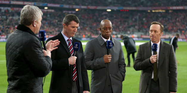 ITV Sport presenter Adrian Chiles and pundits Roy Keane, Ian Wright and Lee Dixon (left to right) before the game