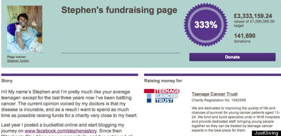 stephen sutton fundraising page