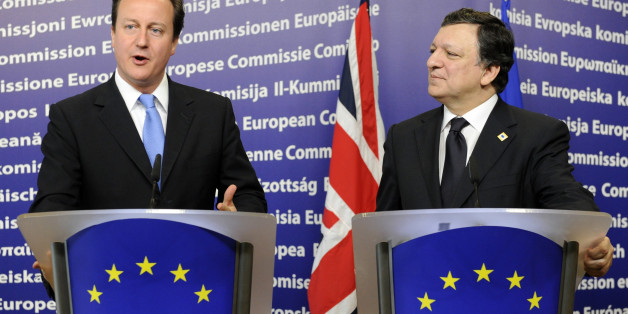 European Commission president Jose Manuel Barroso (R) and British Prime Minister David Cameron give a joint press conference prior to an European Council gathering EU's heads of state on June 17, 2010 in Brussels. During the one-day meeting, EU leaders are expected to adopt 'Europe 2020', the new strategy for jobs and growth, and will also discuss the forthcoming G 20 summit, economic governance and post-Copenhagen climate strategy.                 AFP PHOTO / JOHN THYS (Photo credit should read